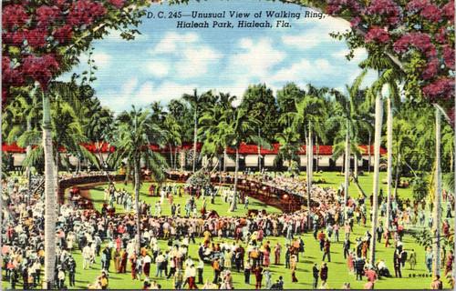 Unusaul view of walking ring at Hialeah Park
