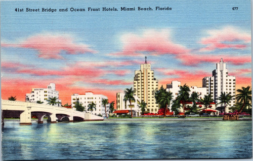 Miami Beach ocean front hotels and bridge