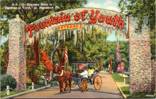 Fountain of Youth Entrance with Horse and Carriage, St. Augustine