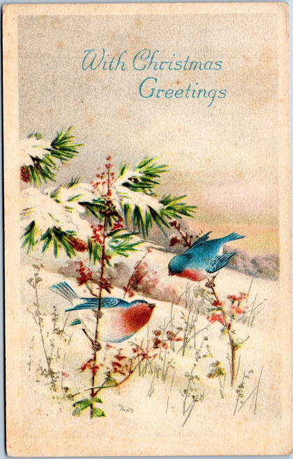 With Christmas Greetings - Bluebirds Gibson Art