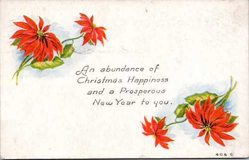 Christmas Happiness - poinsettias - posted 1917 Ohio