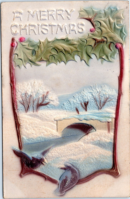 embossed christmas postcard with birds 1906