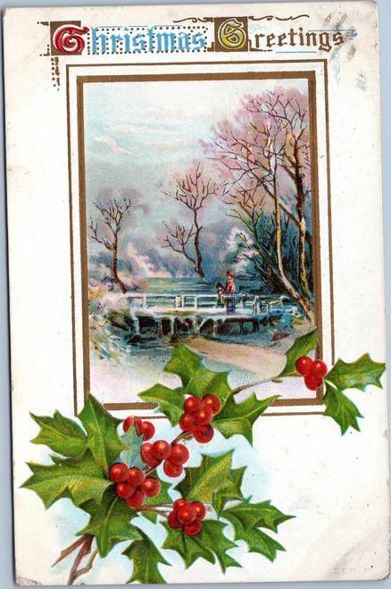 Christmas Greetings Holly Bridge