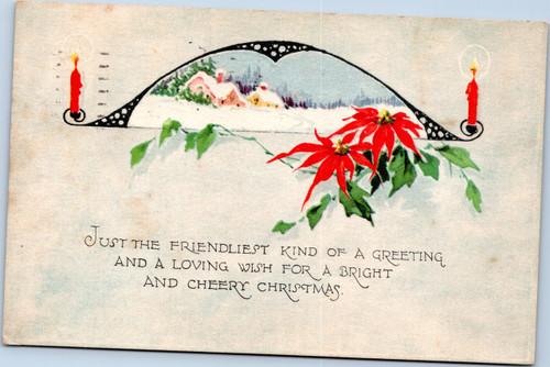 Cheery Christmas Scene Poinsettias Gibson Art Company 1923