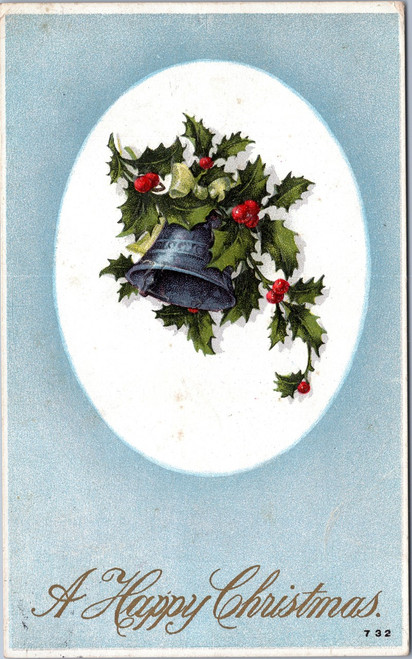 Happy Christmas bell holly