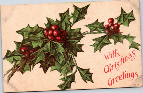 Holly and berries - With Christmas Greetings 4214