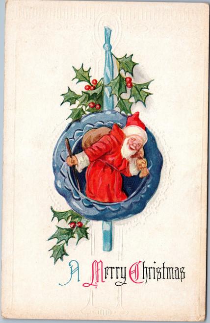 Embossed santa wreath christmas
