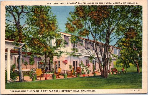Will Rogers Ranch House Santa Monica linen postcard
