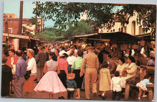Olvera Street  - Bit of Old Mexico - streetside stands - people