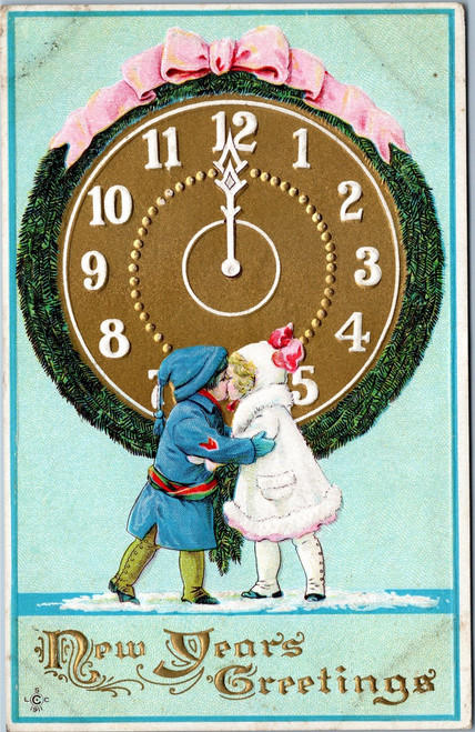 New Years Greetings - divided back postcard