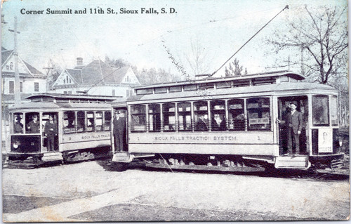 Trolley Cars - Corner of Summit and 11th St in Sioux Falls