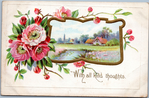 With all kind thoughts.  Flower and village scene