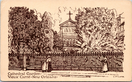 Drawing New Orleans Old Square St Louis Cathedral garden