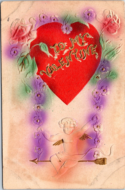 embossed, cupid on arrow and flower swing from heart