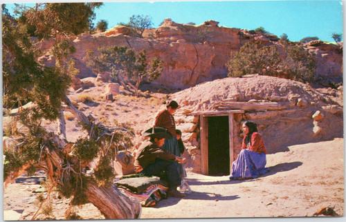 Navajo Family at Entrance to Hogan