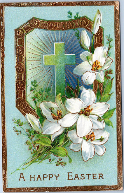 A Happy Easter - cross with lillies and gold border
