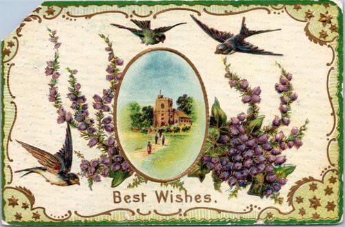 Best Wishes - Birds, flowers, church scene