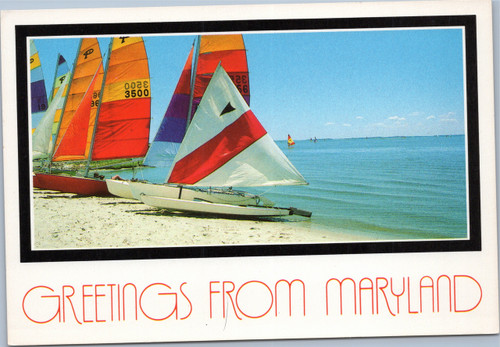 Greetings from Maryland - sailboats on beach