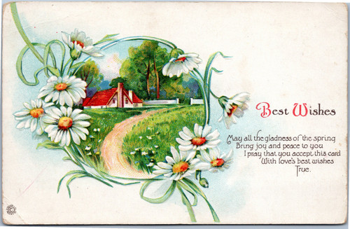 Best Wishes Country house in circle of daisies