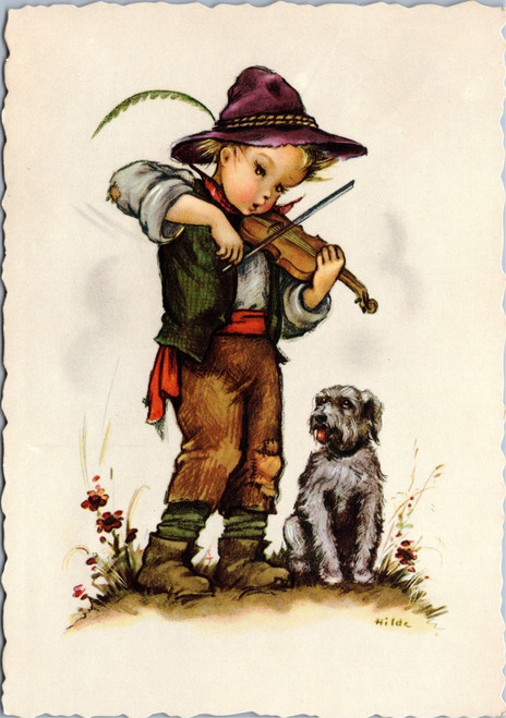 Hilde -boy playing violin to dog