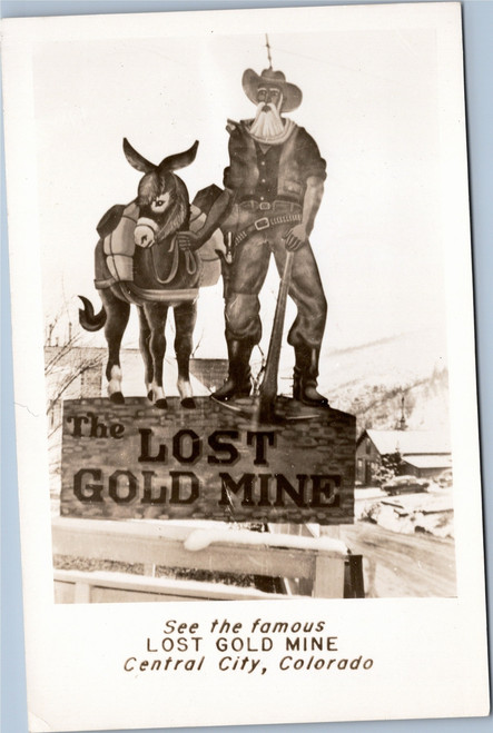Lost Gold Mine roadside sign rppc