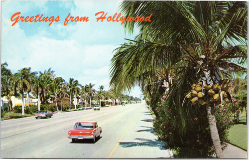 Hollywood Florida street scene 1960s