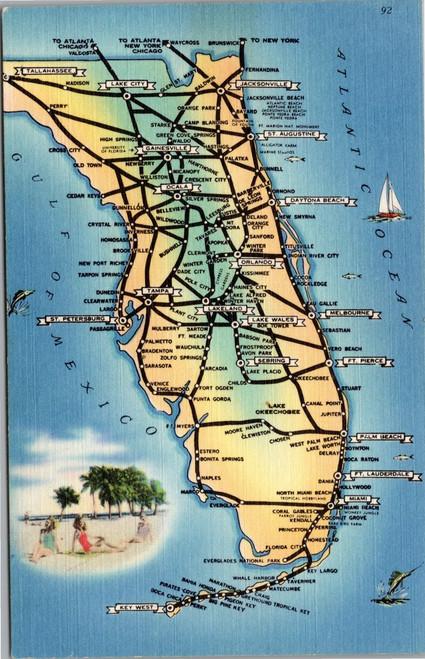 Florida map souvenir postcard