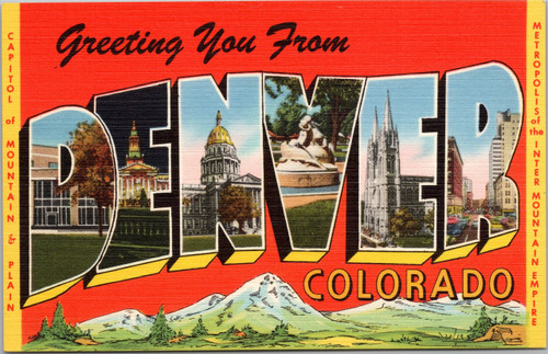 Greeting you from Denver Colorado - Large Letter