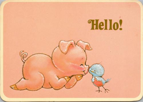 Hello! Pig nestling bird drawing