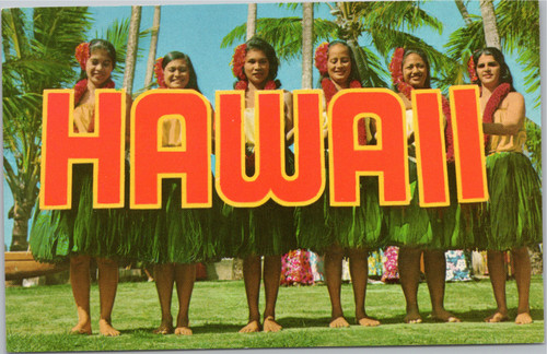 Hawaii letters with hula girls