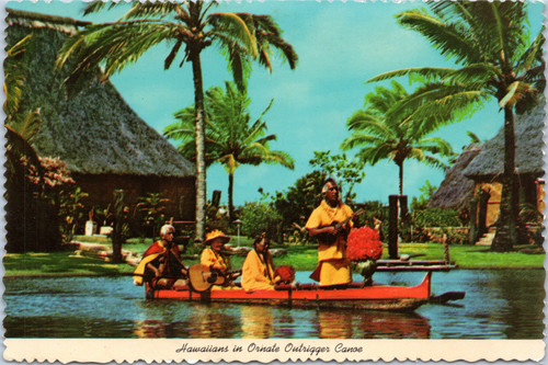 Hawaiians in Ornate Outrigger Canoe