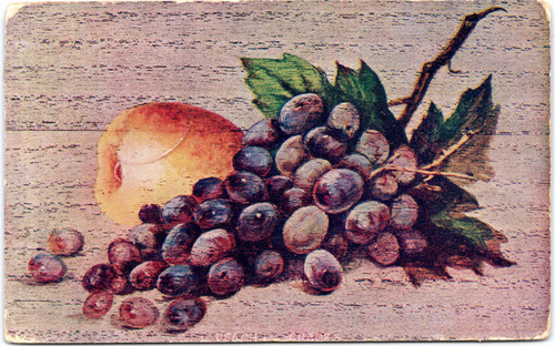 Peach and grapes