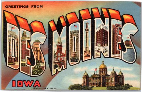 Des Moines Iowa large letter