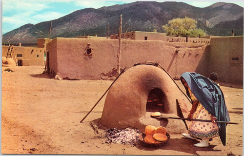 Indian Woman Baking Bread in the Southwest