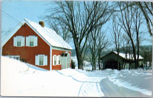 winter scene with covered bridge