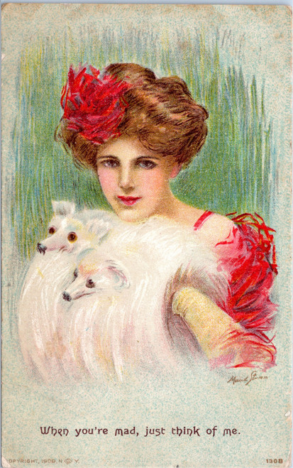 Woman in red with two white dogs