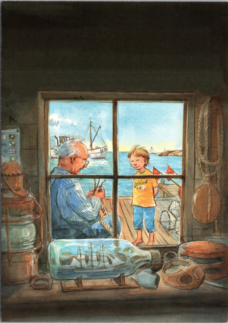 Grandfather teaching child to tie knot (drawing) nautical
