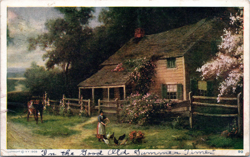 Woman feeding chickens in front of house with cow