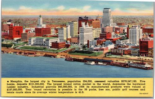 Memphis skyline facts postcard