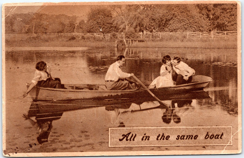 Couples in rowboat