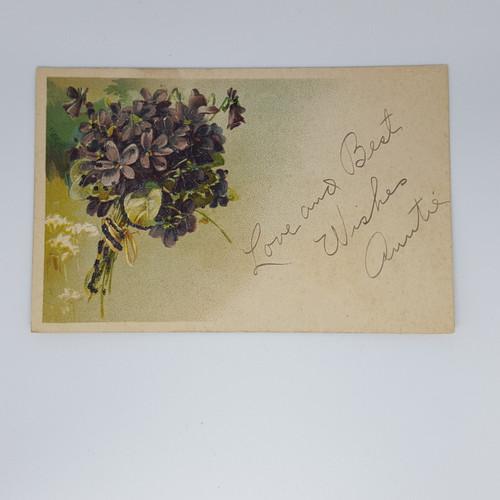 greetings embossed violets