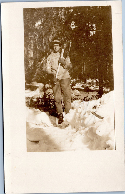 Man with Ax in snow