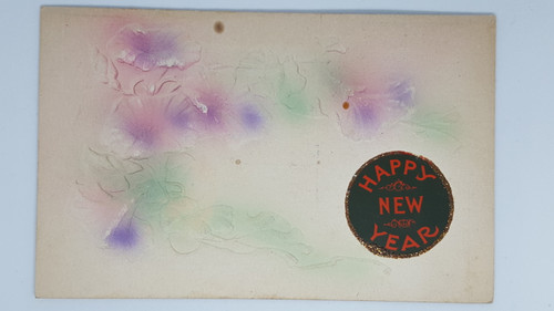 Embossed flowers with Happy New Year sticker