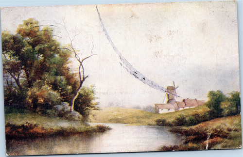 River scene with windmill in background  (17-9296)