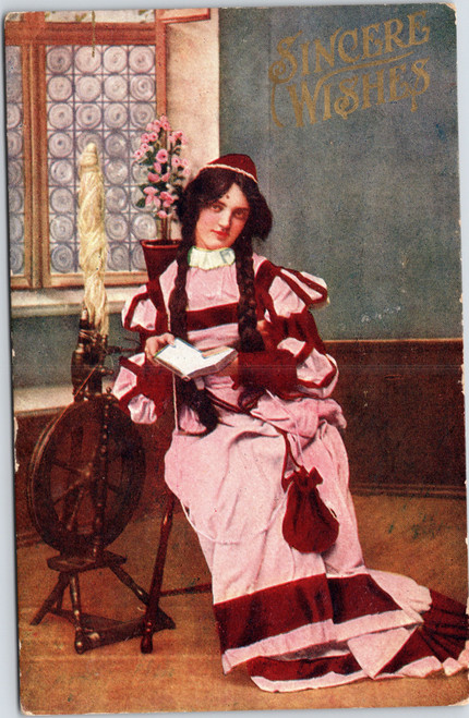 Sincerest Wishes - Girl reading next to spinning wheel