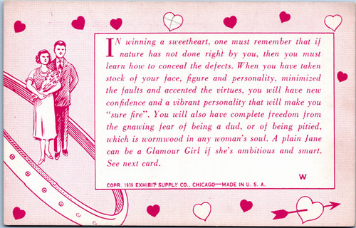 1939 Exhibit Supply Company Chicago Arcade Card - In Winning a Sweetheart