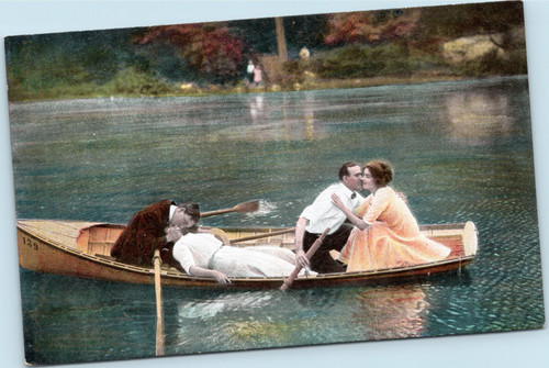 Couples in boat kissing