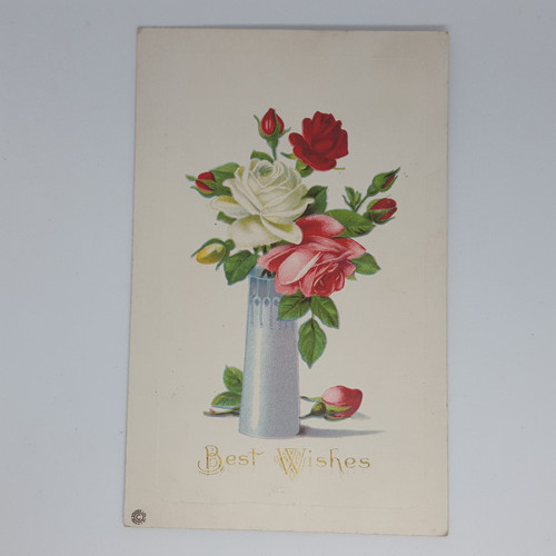 Best Wishes - red and white rose in vase - Stetcher