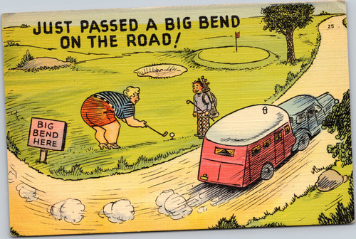 Fat Woman golfing - Just passed a big bend on the road - Trailer Comics