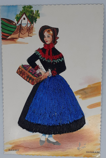 Embroidered - Denmark - Amager - Woman in traditional dress by Elsi